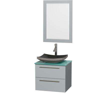 Amare 24 in. W x 19.5 in. D Vanity in Dove Gray with Glass Vanity Top in Green with Black Basin and 24 in. Mirror