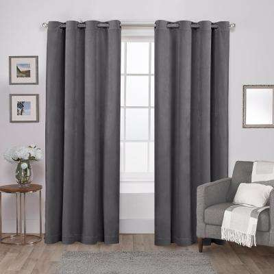 Velvet 54 in. W x 96 in. L Velvet Grommet Top Curtain Panel in Soft Gray (2 Panels)