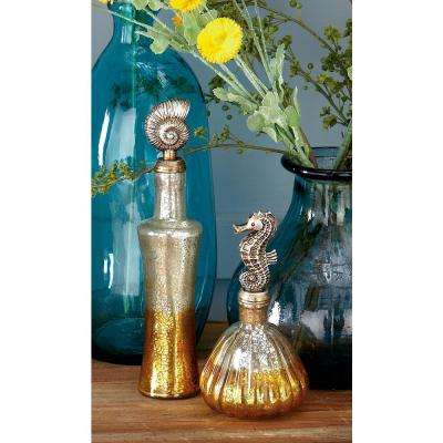Tarnished Glass and Polystone Stopper Bottles (Set of 3)