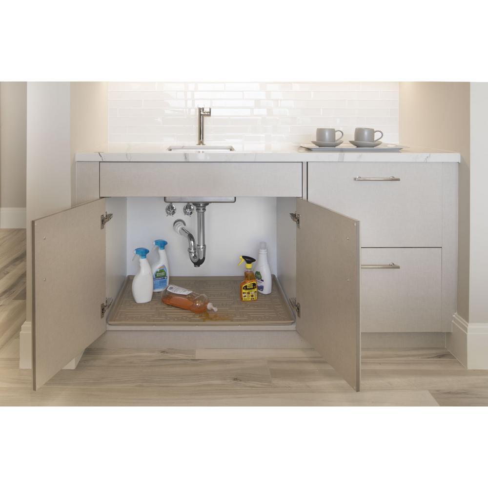 Xtreme Mats 25 In X 19 In Beige Bathroom Vanity Depth Under Sink