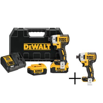 """DEWALT 20-Volt MAX XR Lithium-Ion Cordless Brushless 1/4"""" Impact Driver, 2 Batteries 4 Ah, Charger, and Free Impact Driver"""