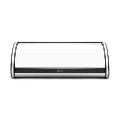 Brabantia Roll Top Bread Box, Brilliant Steel Black Sides