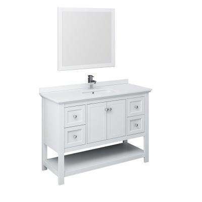 Manchester 48 in. W Bathroom Vanity in White with Quartz Stone Vanity Top in White with White Basin and Mirror