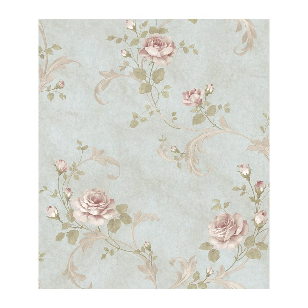 Chesapeake Gracie Blue Floral Scroll Wallpaper Ars26003 The Home