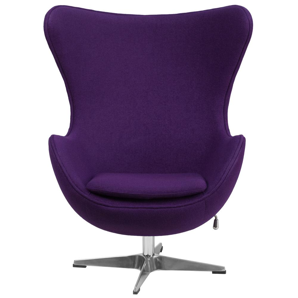 Flash Furniture Purple Wool Fabric Egg Chair With Tilt