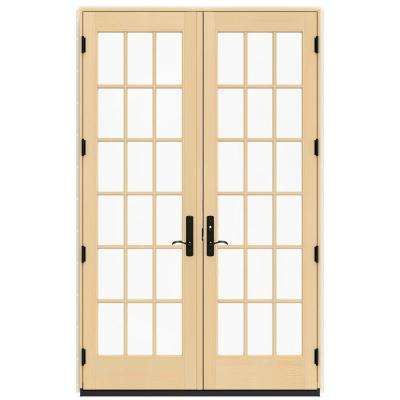 60 in. x 96 in. W-4500 French Vanilla Clad Wood Left-Hand 18-Lite French Patio Door with Contemporary Frame