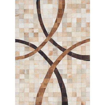 Cowhide Patchwork Ivory, Tan Leather Rug 4 ft. x 6 ft. Indoor Area Rug