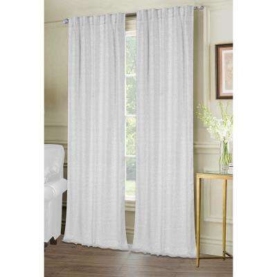 Chantelle 38 in. W x 84 in. L Lurex Fabric Window Panel Pair in Silver (2-Pack)
