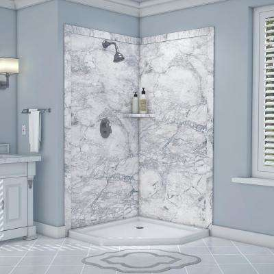 Splendor 40 in. x 40 in. x 80 in. 7-Piece Easy Up Adhesive Corner Shower Wall Surround in Everest