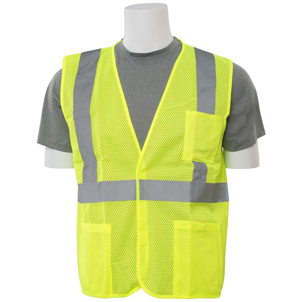 S362P 5X Hi Viz Lime Economy Poly Mesh Vest