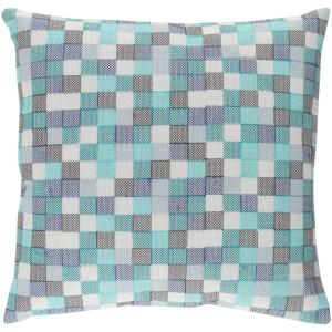 Nahor Blue Geometric Polyester 18 in. x 18 in. Throw Pillow