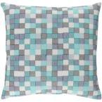 Nahor Blue Geometric Polyester 22 in. x 22 in. Throw Pillow