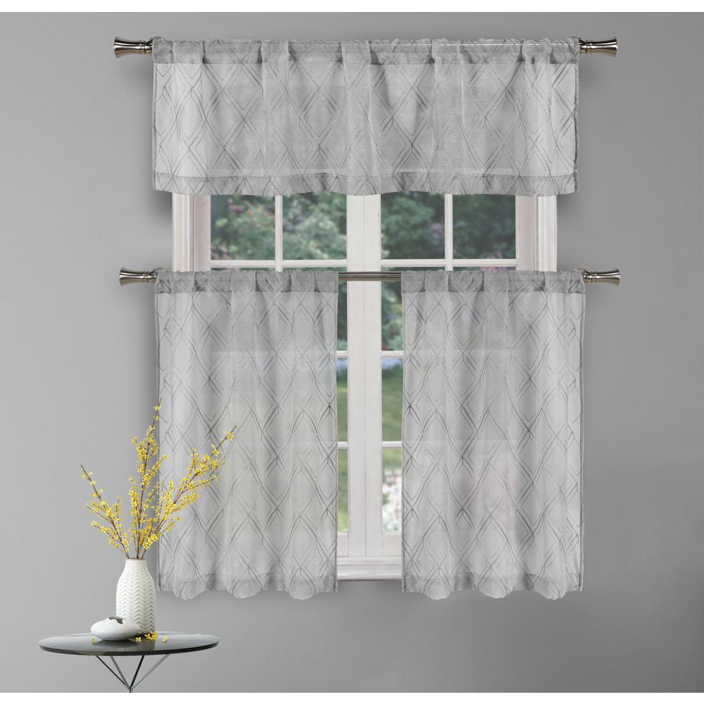 Kensie Adley Silver Kitchen Curtain Set 58 In W X 15 In L In 3 Piece