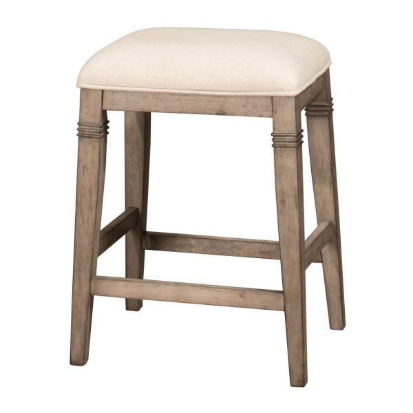 Hilale Furniture Arabella 25 In Distressed Gray Backless Non Swivel Counter Stool