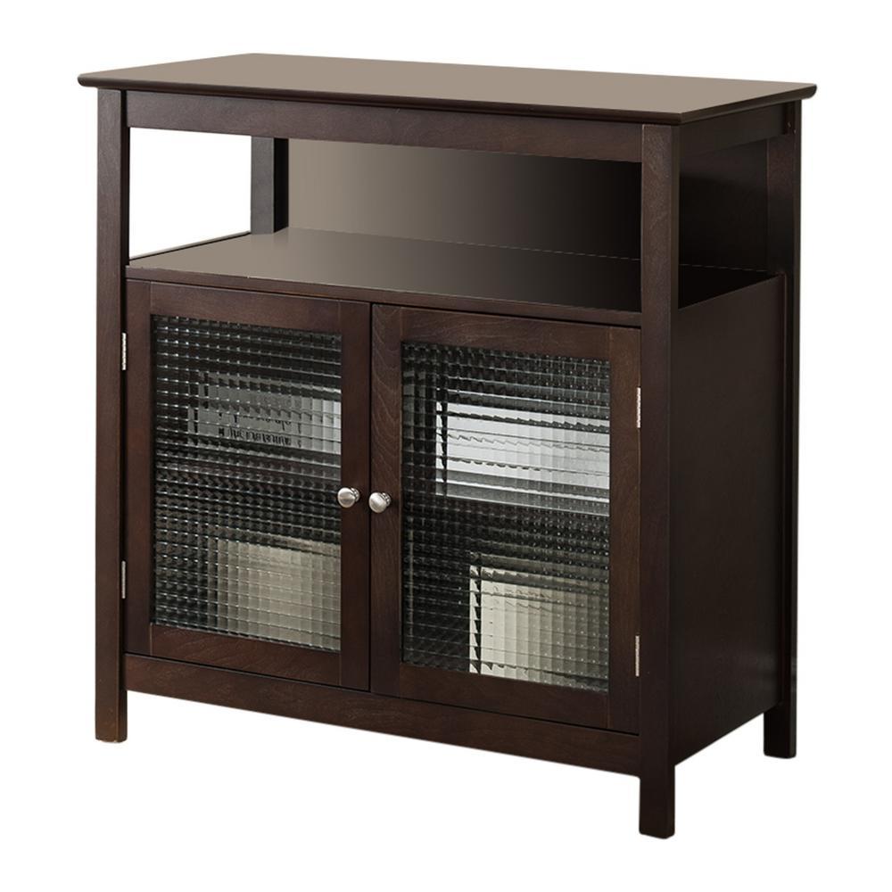 Kings Brand Furniture Walnut Finish Wood Storage Console / TV Stand
