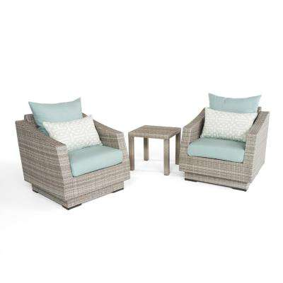 Cannes 3-Piece All-Weather Wicker Patio Club Chairs and Side Table Seating Set with Spa Blue Cushions