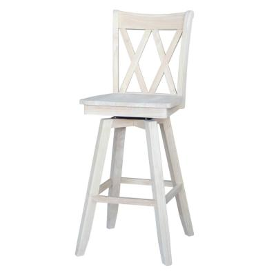 Double X Back 30 in. Unfinished Wood Swivel Bar Stool