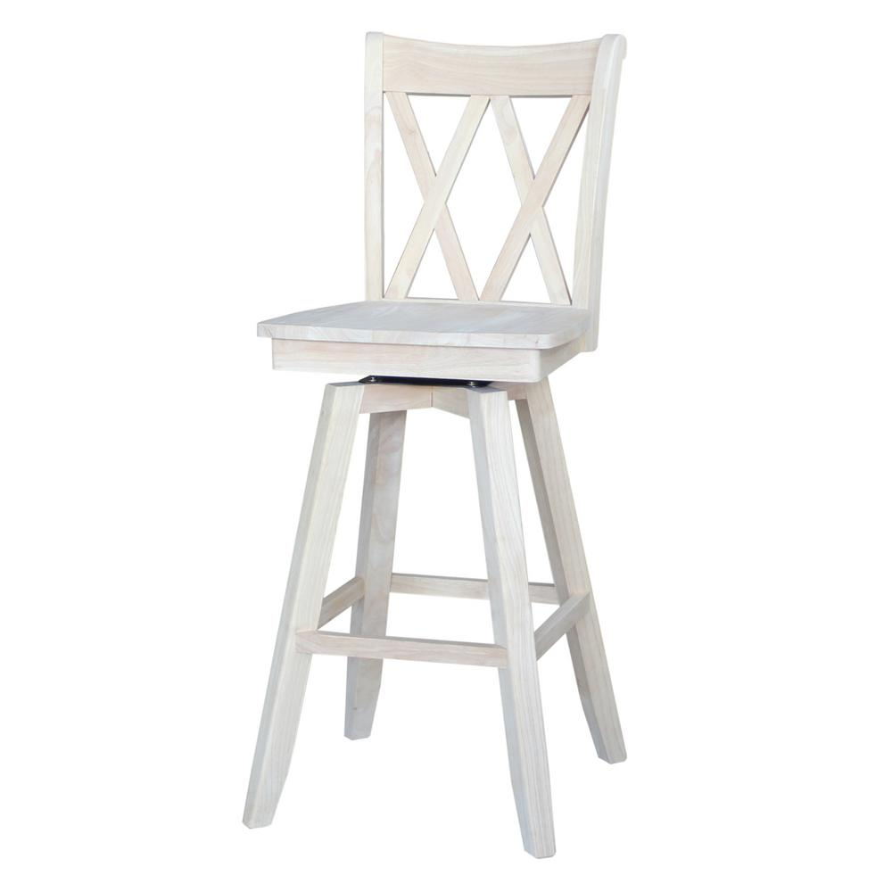 International Concepts Double X Back 30 In Unfinished Wood Swivel Bar Stool