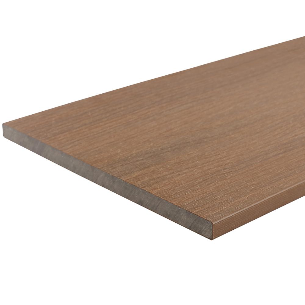 NewTechWood UltraShield 0.6 in. x 12 in. x 12 in. Peruvian Teak Fascia Composite Decking Board Sample