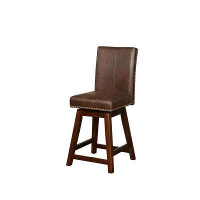 Cameron Chestnut Brown Wood Swivel Counter Stool