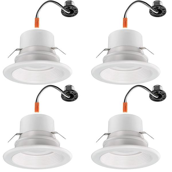 Commercial Electric 4 In Multi Lumens And Color Selectable Integrated Led Recessed Retro Fit Trim Dimmable High Ceiling Output 4 Pack 53802101 4pk The Home Depot