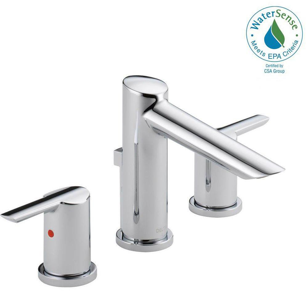 Delta Compel 8 in. Widespread 2-Handle Bathroom Faucet with Metal Drain Assembly in Chrome