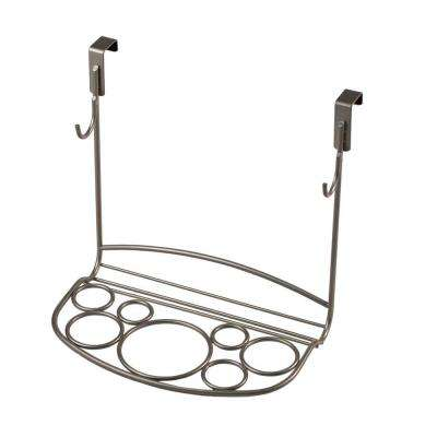 MyBella 9.625 in. W Over the Cabinet Shapes Styling Rack in Satin Nickel Powder Coat