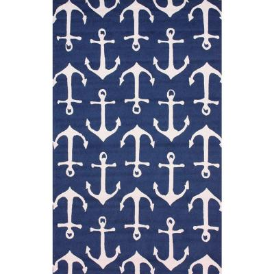 Nautical Anchors Navy 5 ft. x 8 ft.  Indoor/Outdoor Area Rug