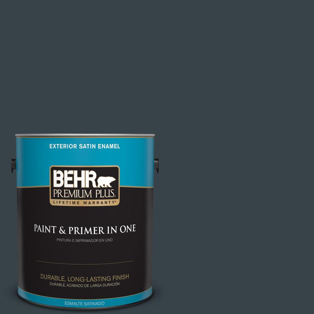 BEHR Premium Plus 1-gal. #740F-7 Night Shade Satin Enamel Exterior Paint