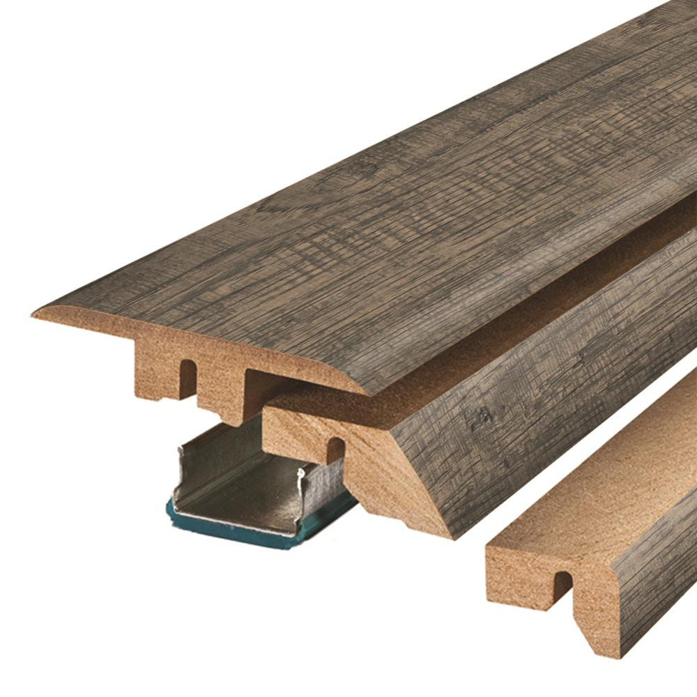 Pergo Bayshore Grey Hickory 3/4 in. Thick x 2-1/8 in. Wide x 78-3/4 in. Length Laminate 4-in-1 Molding