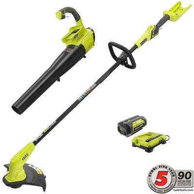 40-Volt Lithium-Ion Cordless String Trimmer and Jet Fan Blower Combo Kit - 2.6 Ah Battery and Charger Included