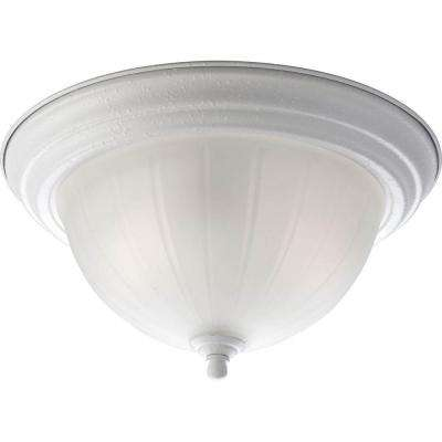 2-Light White Flushmount with Etched Ribbed Glass