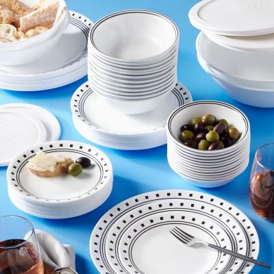 Classic 78-Piece Casual City Block Glass Dinnerware Set (Service for 12)