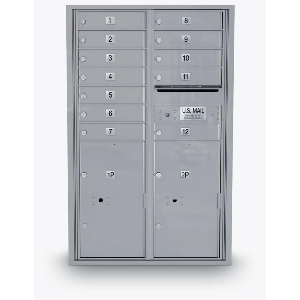 12 Door Standard 4C Mailbox with 2 Parcel Door