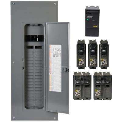 Homeline 200 Amp 40-Space 80-Circuit Indoor Main Breaker Qwik-Grip Plug-On Neutral Load Center with Surge SPD Value Pack