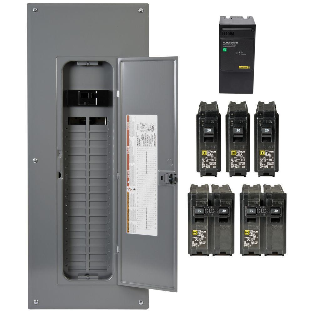 Square D Homeline 200 Amp 40-Space 80-Circuit Indoor Main Breaker Qwik-Grip Plug-On Neutral Load Center with Surge SPD Value Pack