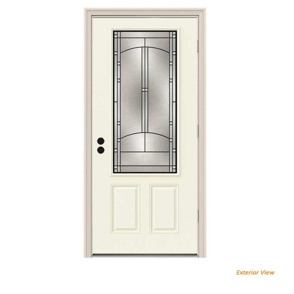 JELD-WEN 36 in. x 80 in. 3/4 Lite Idlewild Vanilla Painted Steel Prehung Left-Hand Outswing Front Door w/Brickmould