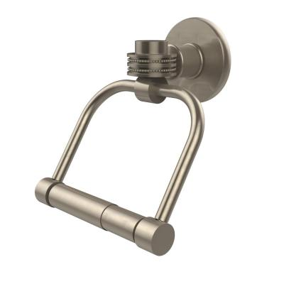 Continental Collection Single Post Toilet Paper Holder with Dotted Accents in Antique Pewter