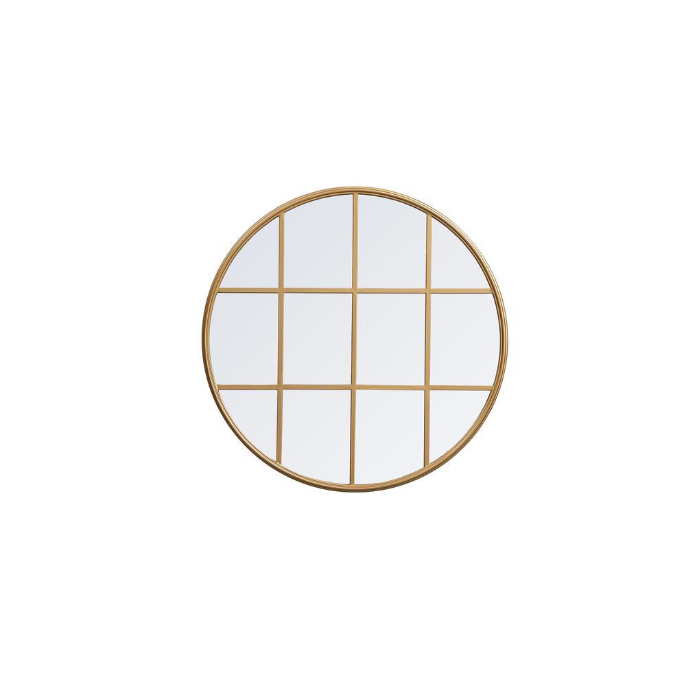 Medium Round Brass Contemporary Mirror (31.5 in. H x 31.5 in. W)