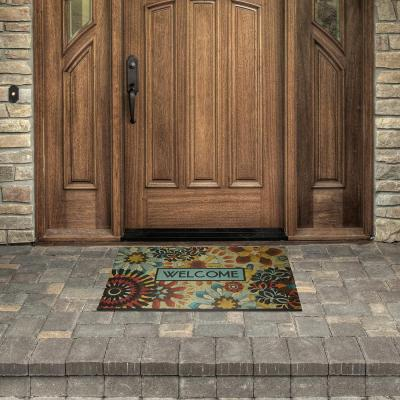 Lace Welcome Rustic Mosaic 23 in. x 35 in. Recycled Rubber Door Mat