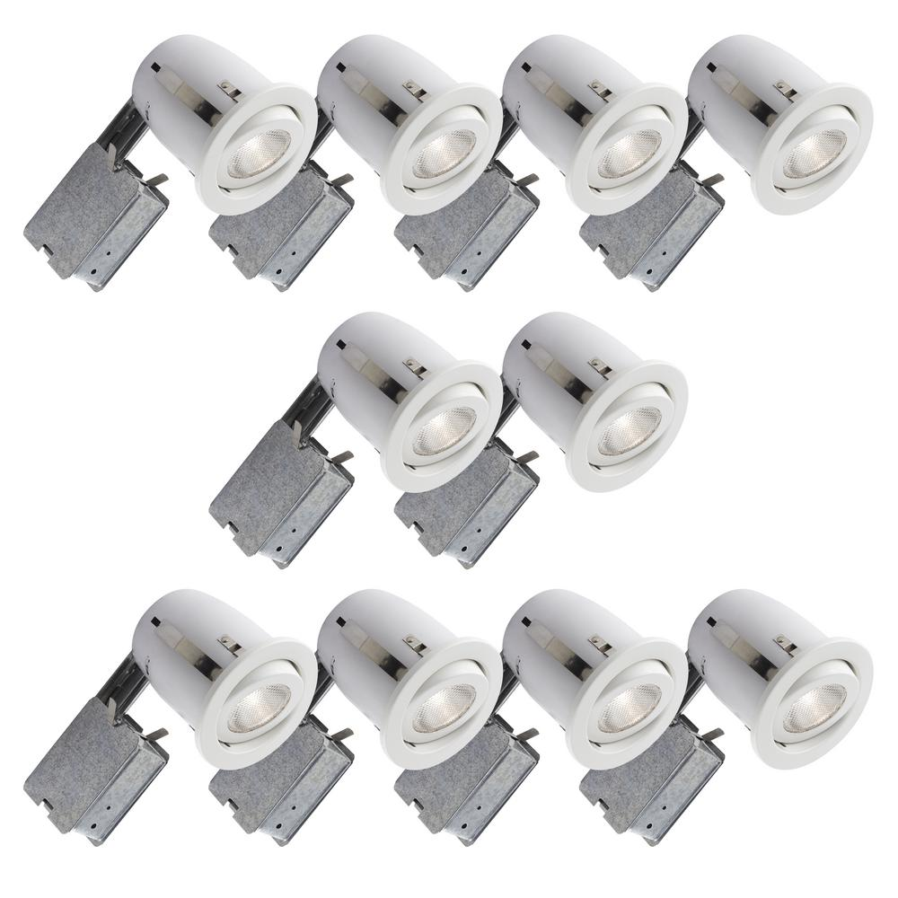 BAZZ 500 Series 4 in. White Recessed Halogen Lighting Kit (10-Pack)