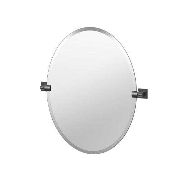 Elevate 26.5 in. x 24 in. Frameless Oval Mirror in Matte Black