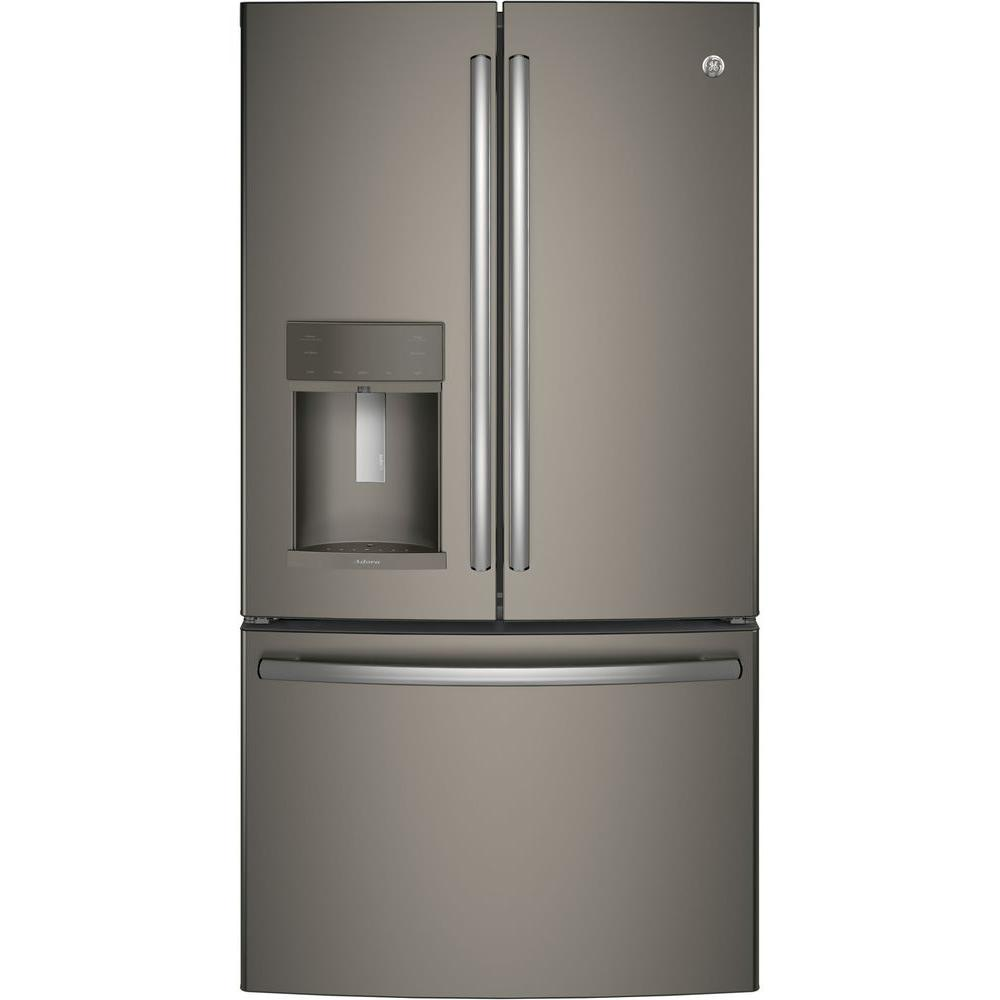Ge adora 36 in w 277 cu ft french door refrigerator in black french door refrigerator in black slate with hands free autofill and fingerprint resistant dfe28jelds the home depot rubansaba