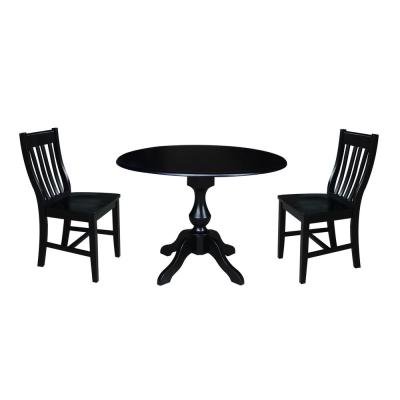 Newsophia 3 Piece Black Drop Leaf Dining Set With 2 Caf Chairs