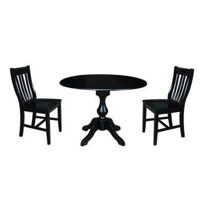 Sophia 3-Piece Black Drop-leaf Dining Set with 2-Caf Chairs