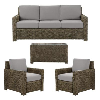 Laguna Point 4-Piece Brown Wicker Outdoor Patio Deep Seating Set with CushionGuard Stone Gray Cushions