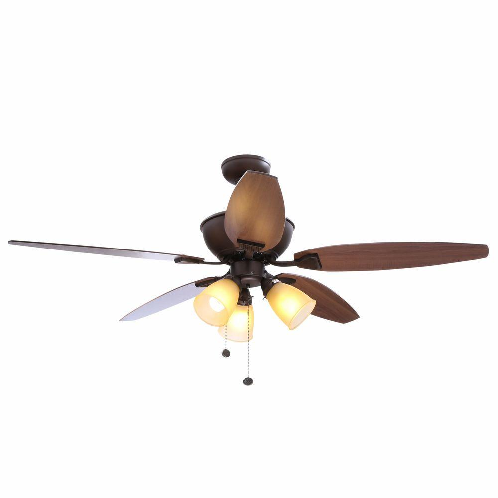 Hampton Bay Carrolton 52 in. Indoor Oil-Rubbed Bronze Ceiling Fan with Light Kit
