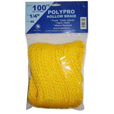 #8 - 1/4 in. x 100 ft. Yellow Hollow Braid Polypro Rope