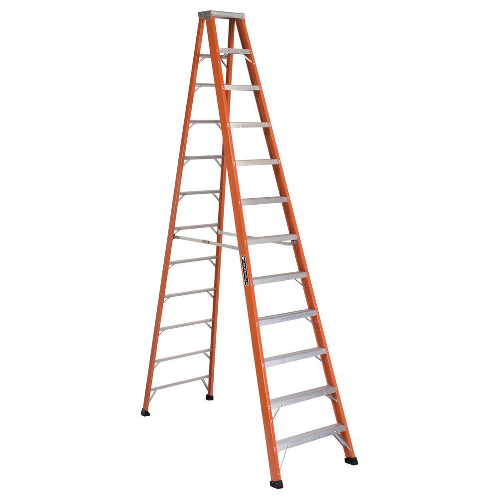 12 ft. Fiberglass Step Ladder with 375 lb. Load Capacity Type IAA Duty Rating