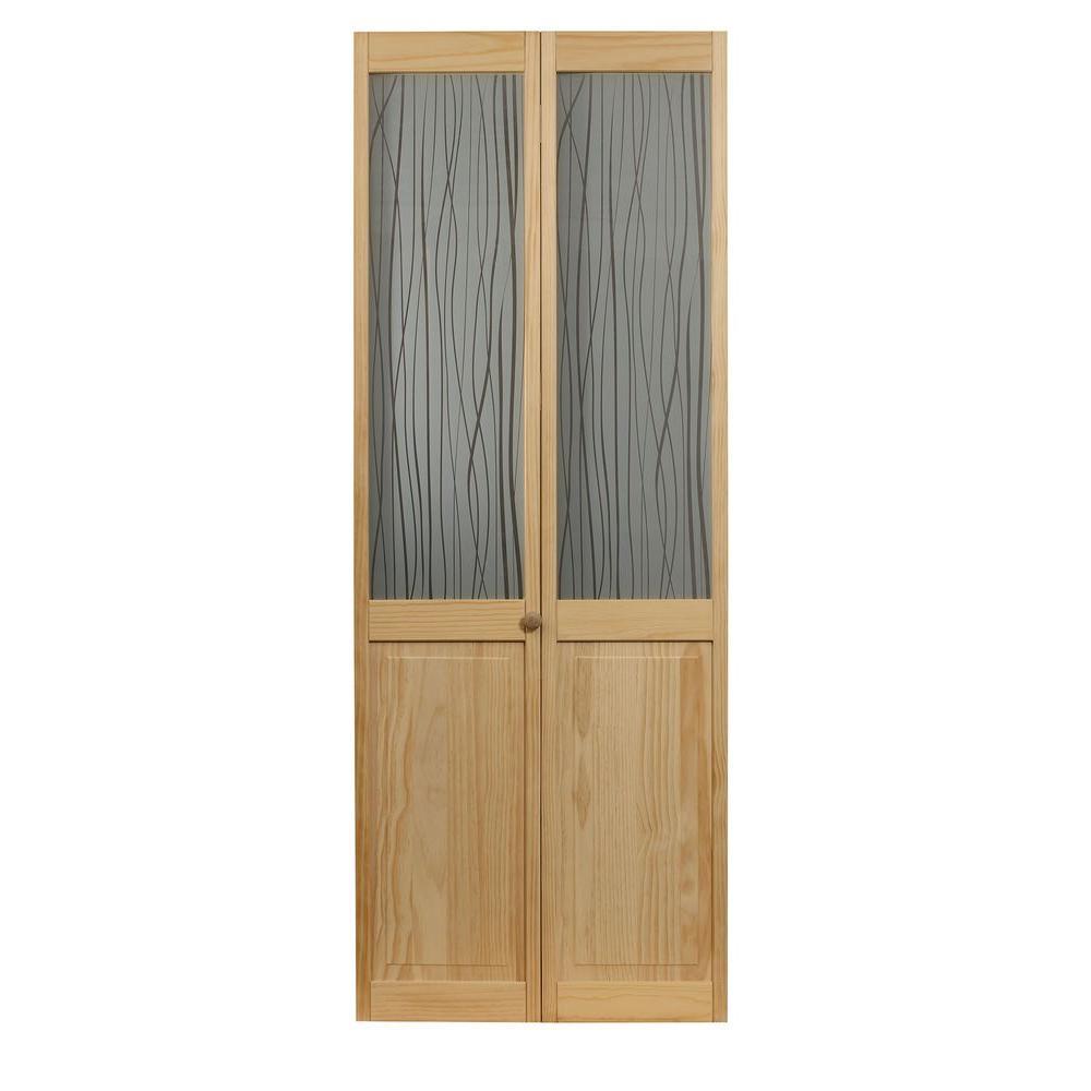 36 in. x 80 in. Grass Glass Over Raised Panel Pine Interior Bi-fold Door